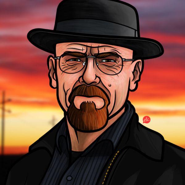Breaking Bad Portrait Illustrations by Jon Defreest