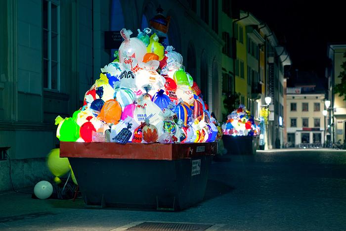 Plastic Garbage Bags Lighting Installation