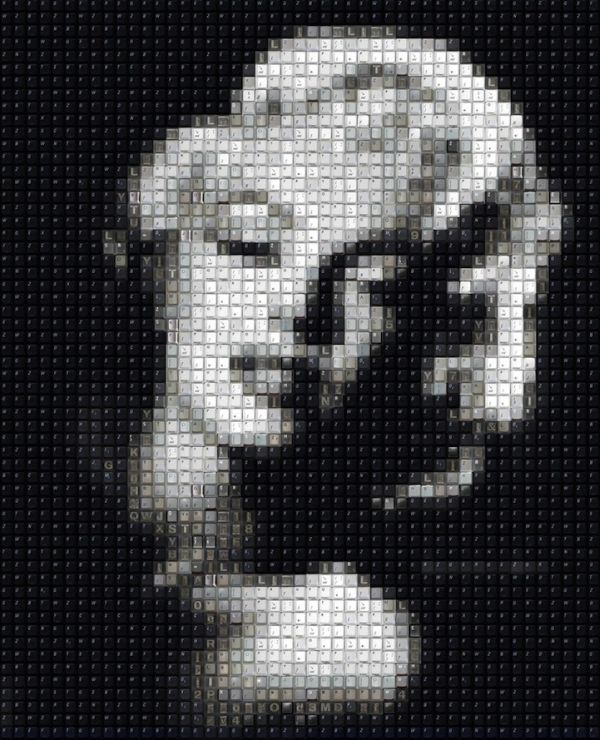 Mosaic Celebrity Portraits Made Of Computer Keys