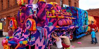 Crocheted Locomotive in Poland by Olek